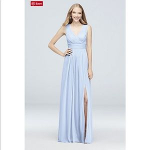 David's Bridal Ice Blue Bridesmaid Dress